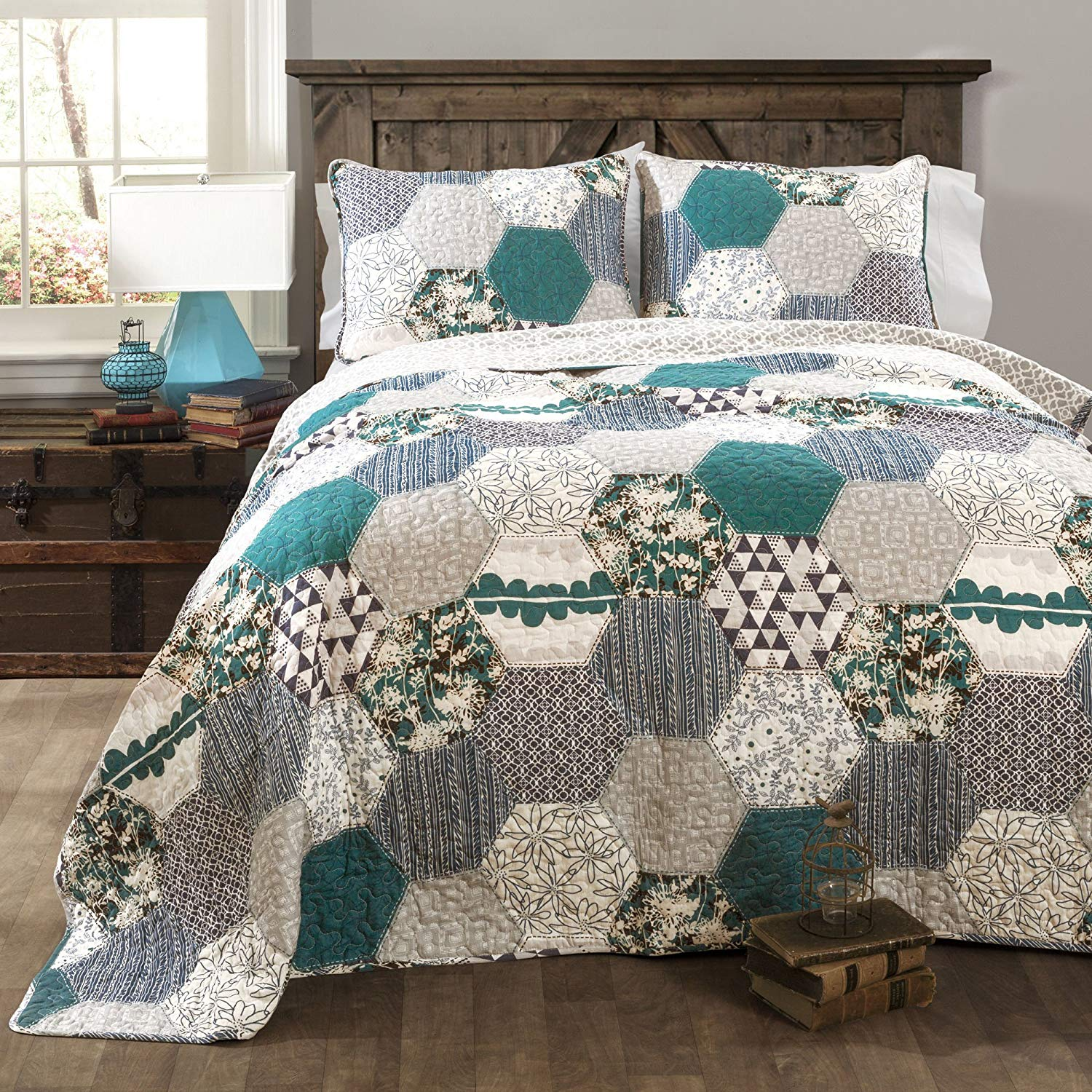 OSK 3 Piece Blue Floral Patchwork Full Queen Size Quilt, Teal Geometric Striped Flower Design, Gray White Octagon Shape Zig Zag Geometrical Grey Stripes, Cotton
