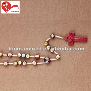 Wholesale 8mm red beads holy rosary photo centerpiece rosaries necklace