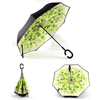 2018 customize patterns and logo printing hand free magic umbrella reverse