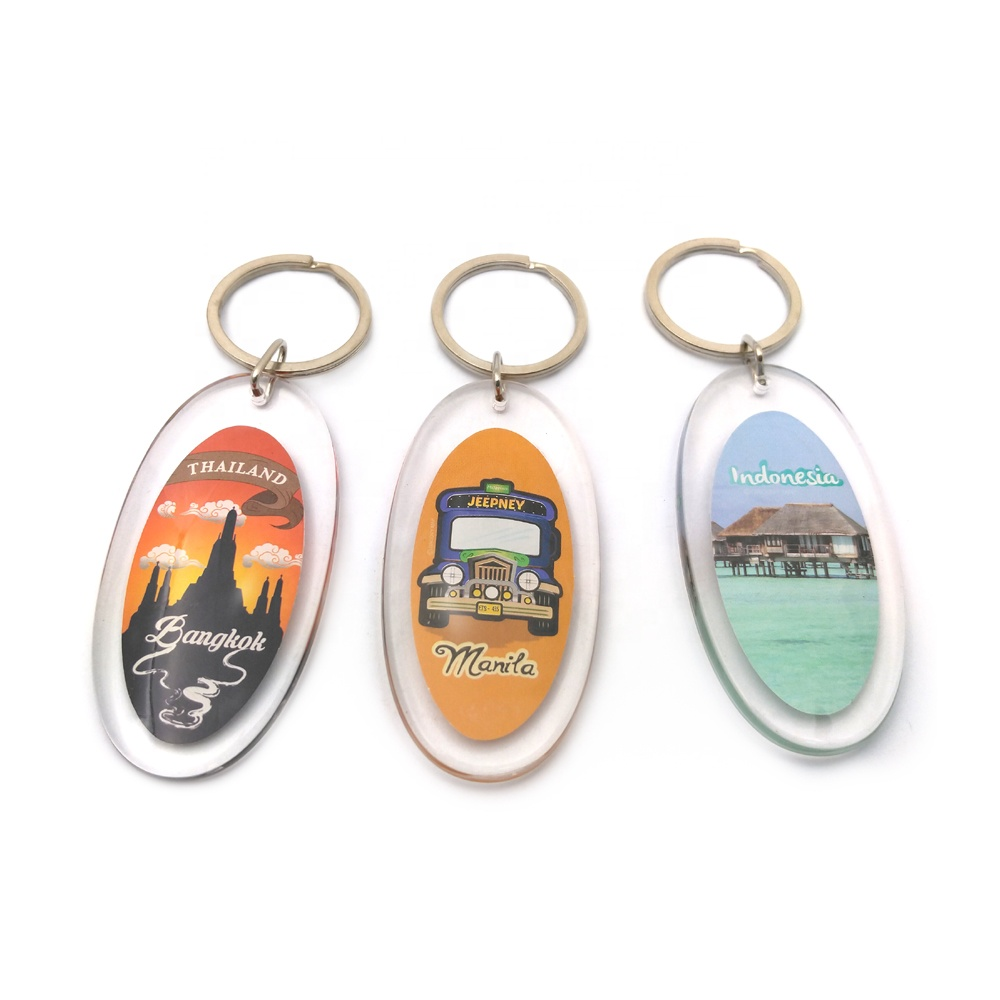 Fashion custom travel souvenir personalized clear transparent print plastic acrylic keychain