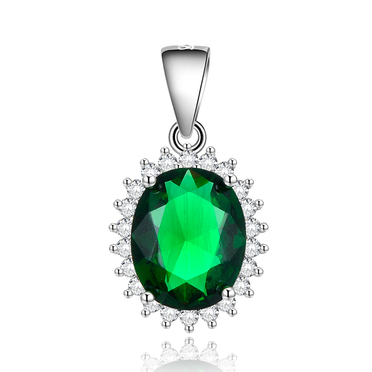 POLIVA Wholesale Fashion Woman Rhodium plating Jewelry 925 Sterling Silver Crystal Gemstone Custom Pendant