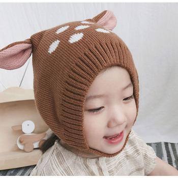 9d6b1d62 baby boy girls' cute deer pattern knitted hat fleece lining animals crochet  toddler beanies baby
