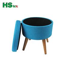 HStex fabric foldable storage wooden stools at home