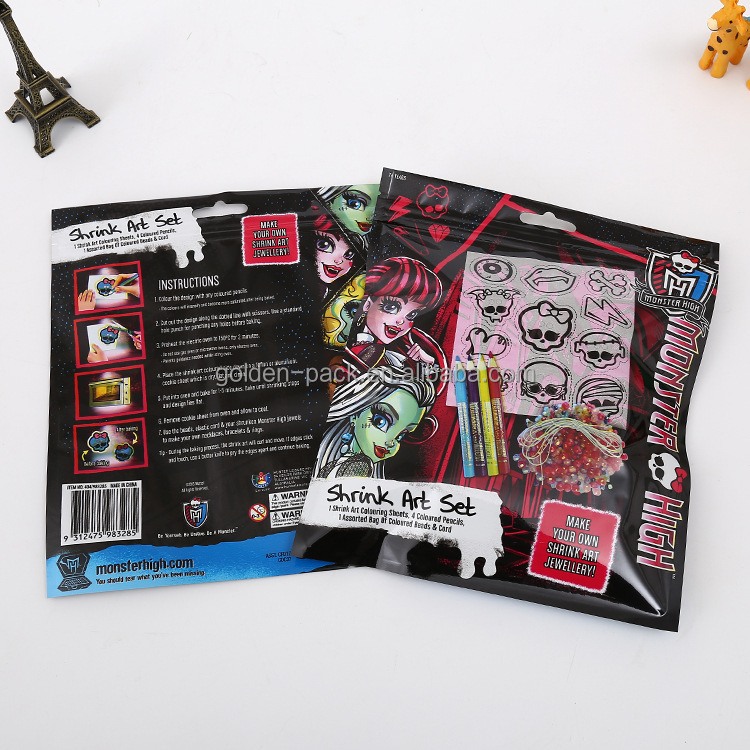 The plastic packaging bag for Shrink art set/sheets/pencils/beads cord Stationery bags