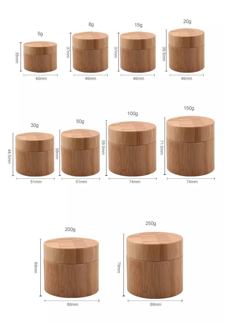 Trung Quốc Nhà Máy Trực Tiếp Cung Cấp Chăm Sóc Da Kem 15G 30G 50G Tre Jar, Bao Bì Tre, tre Mỹ Phẩm Bao Bì