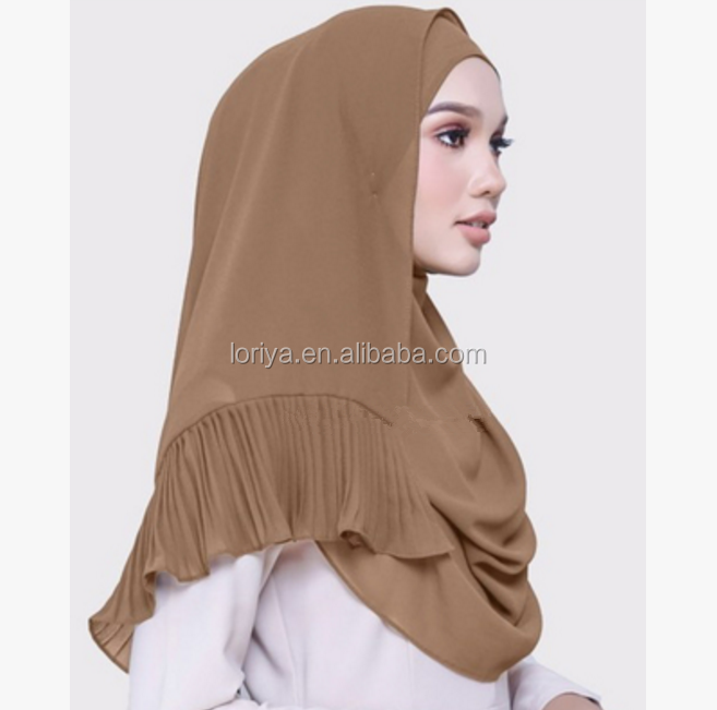 Women pure color Pleating chiffon long hijab scarf 2017