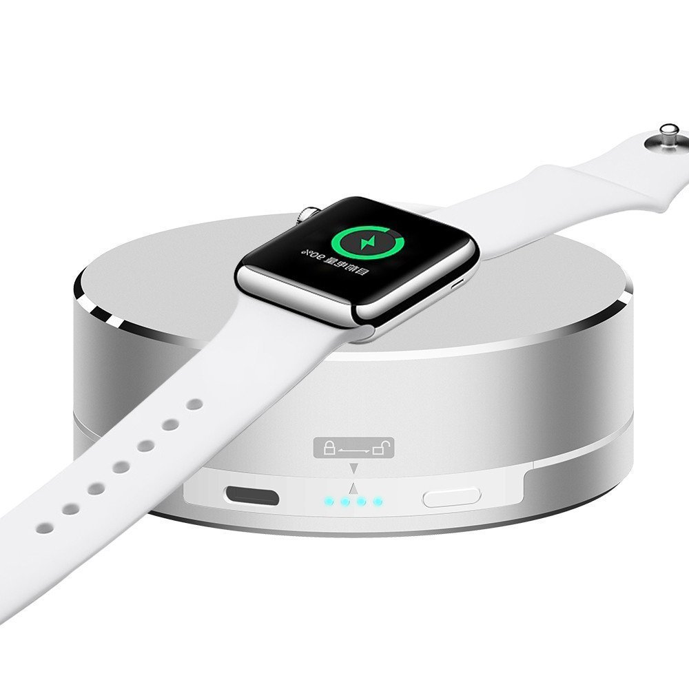 Apple Watch Portable Charger Pinhen Aluminum Charging Stand Dock Station Cradle Holder 1500mAh External Battery Portable Power Bank for Apple Watch (White)