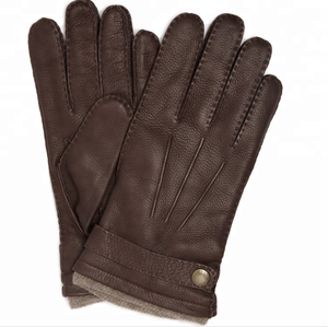 ZF7553 deer skin glove hand brown leather driving gloves with wool lining