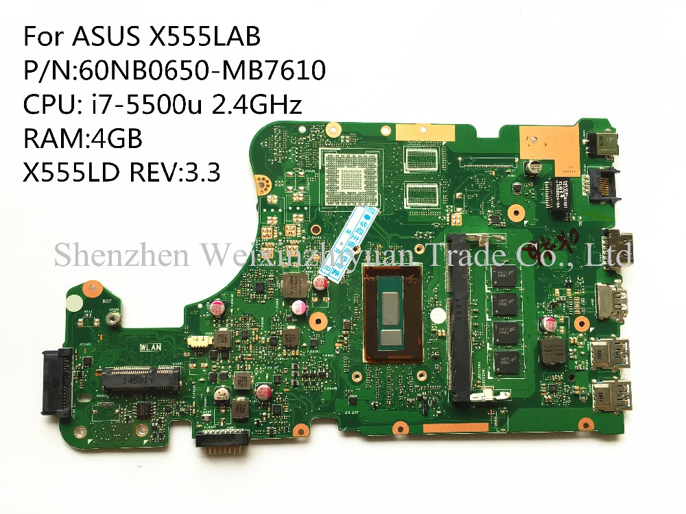 carte mere asus portable For Asus X555lab Laptop Motherboard Mainboard 60nb0650 mb7610 I7