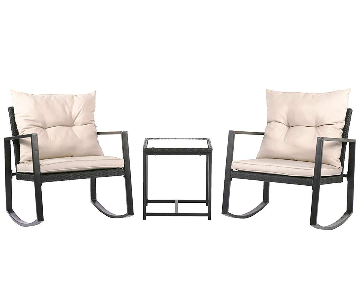 Outdoor 3PC Rocking Bistro Set Patio PE Rattan Wicker Sofa Sectional Furniture Set with Cushion
