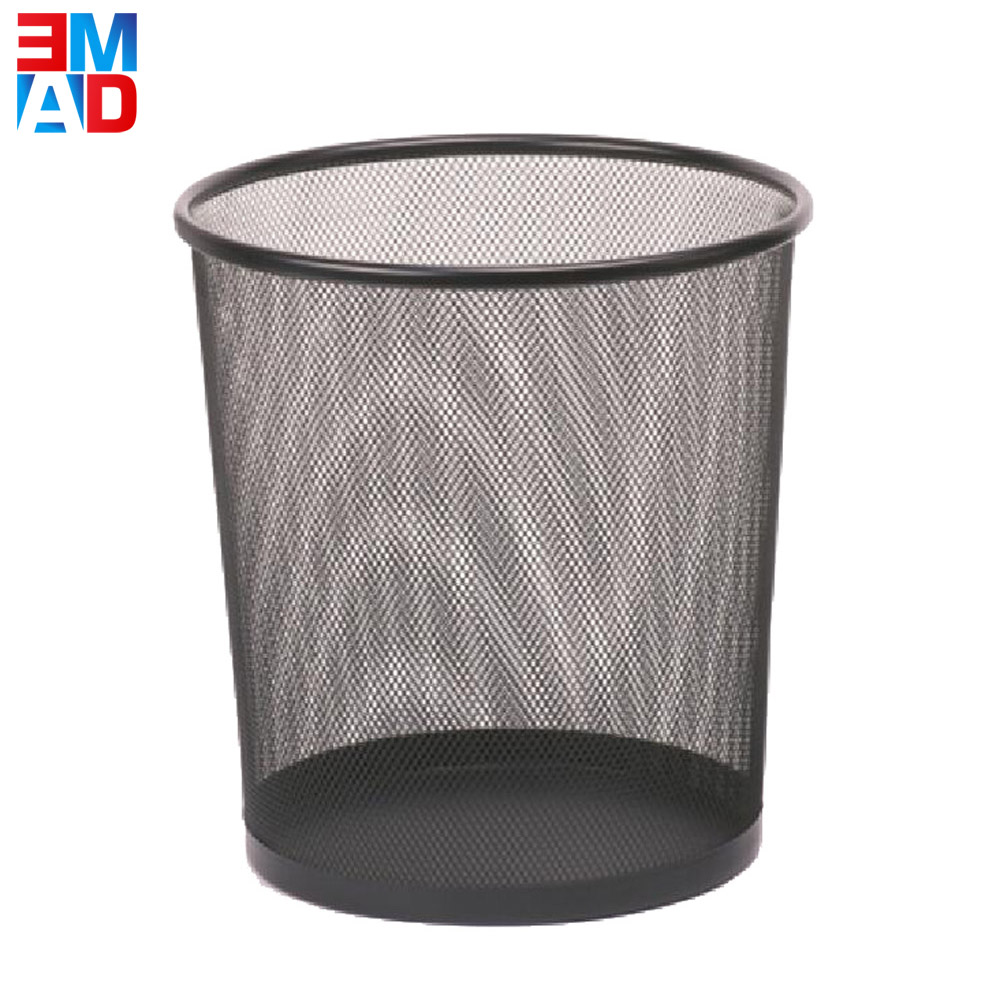 Office black round metal mesh wire round iron waste paper trash can bin