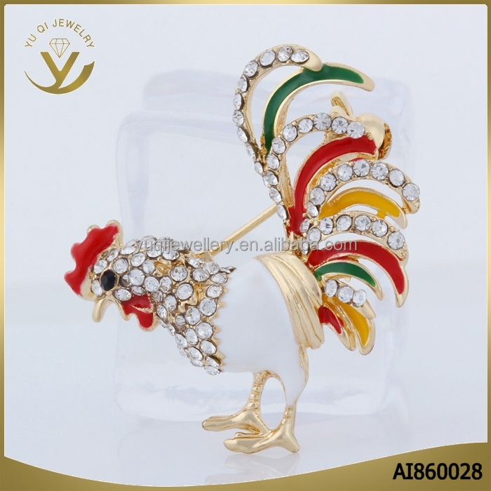 New trendy fashion accessories top quality wholesale big colorful rooster design brooch for women
