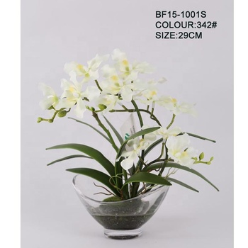 New Fashion Artificial Orchid Flowers In Glass Bowlsilk Fake