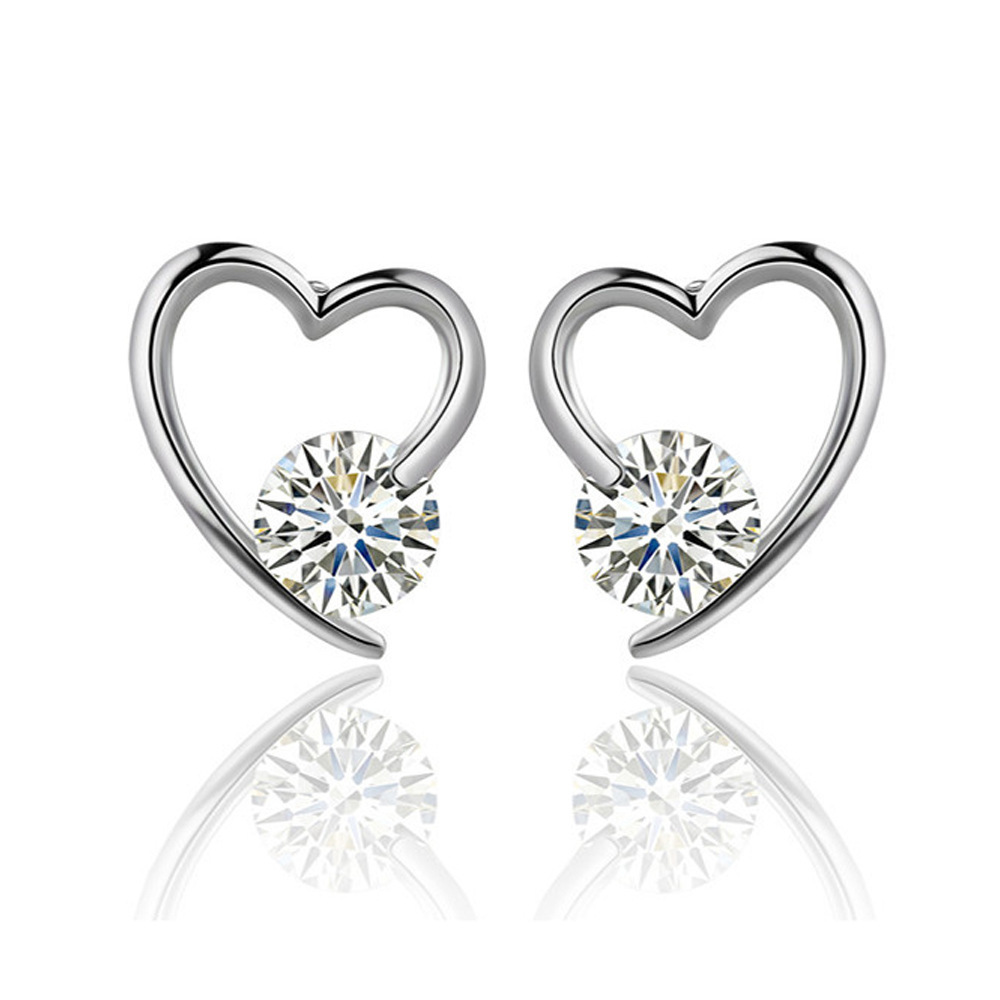 Heart Design 925 Sterling Silver Stud <strong>Earring</strong> with AAA Zircon
