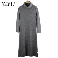 Casual Long Pattern women cashmere grey turtleneck pullover sweater