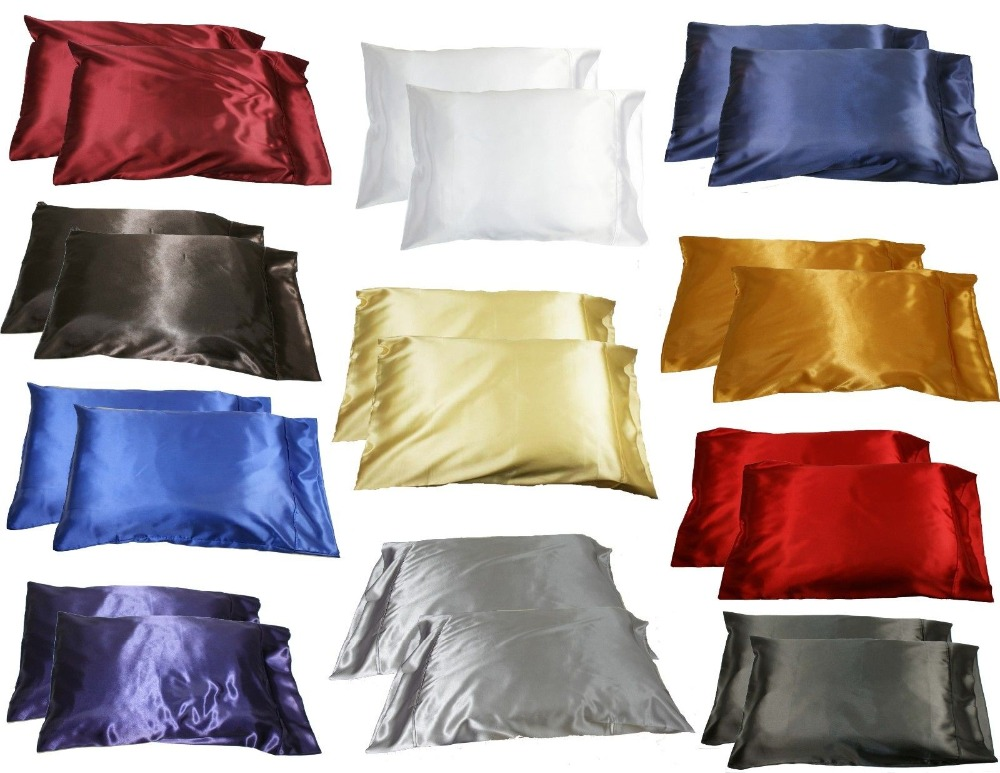 2pc New Queen/Standard Silk~y Satin Pillow Case Multiple Colors