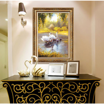 French Style Shabby Chic Gold Molding With Swan Oil Painting Ps