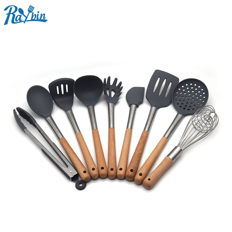 9 Piece Heat-Resistant stainless steel kitchen cooking mixing tools, silicone kitchen utensil set