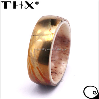 f91a0d8a30ba8 China Made Custom Jewelry And Bands Natural Deer Antler Sleeve Acid Etched  Gold Damascus Steel Ring - Buy Custom Damascus Steel Ring,Damascus Steel ...