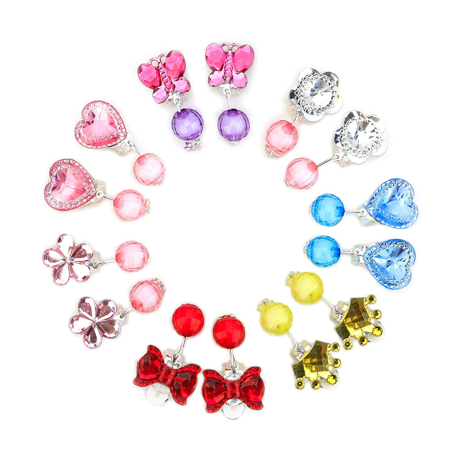 Get Quotations Baby Clip On Earrings 7 Pairs Little Kids Shiny Princess Jewelry Set