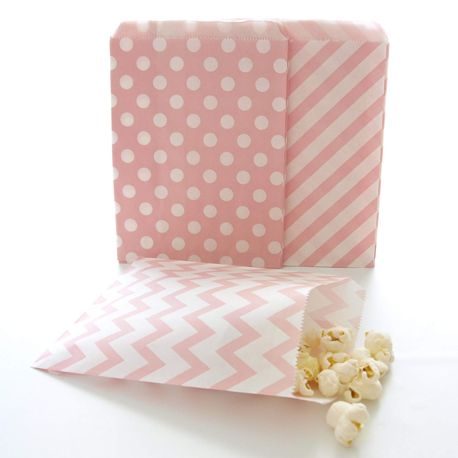 Pink Paper Bags, Wedding Candy Buffet Bags, Mini Treat Bags, Food Gift Bag, 75 Pack - Pink Striped, Polka Dot & Chevron Bags