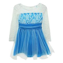 Super Girls Princess Lace Fancy Dress Long Sleeve Baby Crochet Floral Tulle Dresses