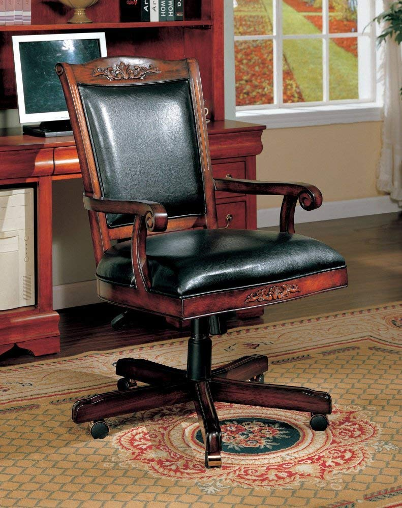 Coaster Traditional Style Office Chair, Black Leather and Cherry Finish Wood