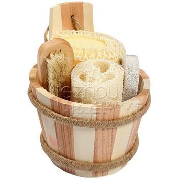 Natural Wooden Bucket Bathroom Accessory Set