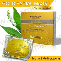 Hot top gold bio-collagen facial mask 24K nano crystal gold face mask anti-wrinkle and lifting facial mask sheet in skincare men