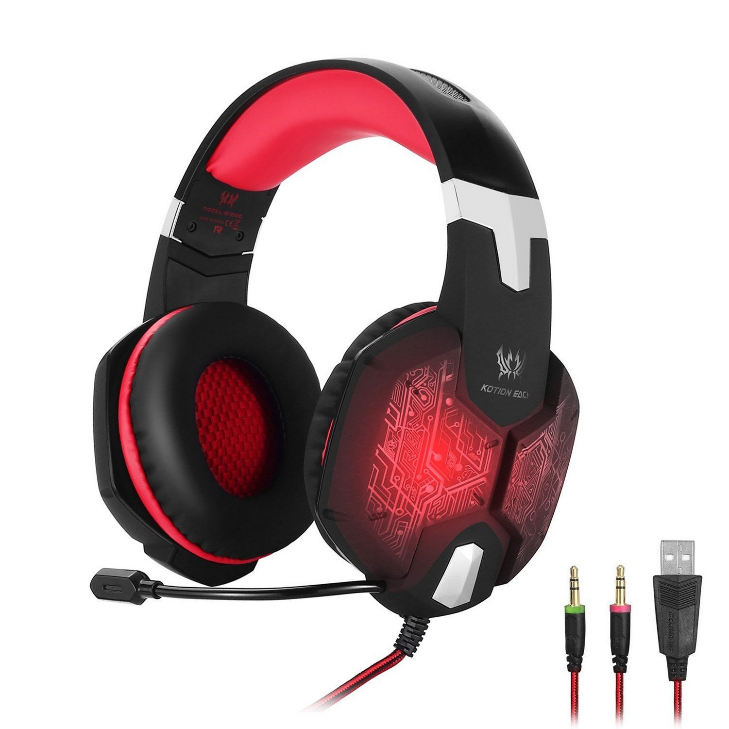 ENVEL Gaming Headset G1000 Professional 3.5mm PC Bass Stereo Headphones Earphones Headband with Mic Microphone Colorful Breathing LED Light for Laptop Computer (Black & Red)