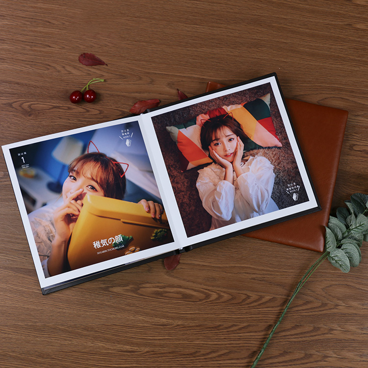wedding album leather cover whiteboard paper print photo book binding with printing