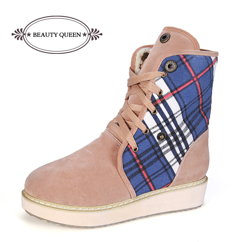 33693364bed4 Get Quotations · Small Big Size 34-43 2015 Fashion Women Snow Boots Lace Up Platform  Ankle Boots