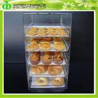 DDW-0072 Chinese Factory Sells SGS Non-toxic Test Countertop 5 Tiers Acrylic Bakery Display Cabinet
