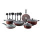 17 Piece Nonstick Pots and Pans Kitchen Cookware Gift Set with Cooking Utensils, Dark RED