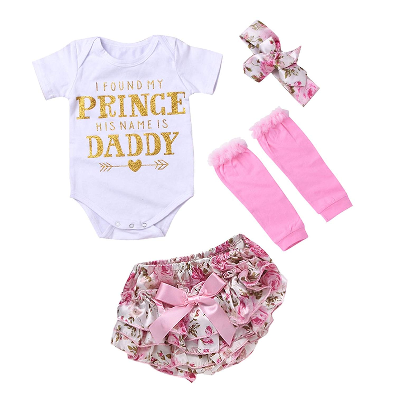 puseky Newborn Baby Letters Romper Floral Shorts Headband Leg Warmers Outfit Set