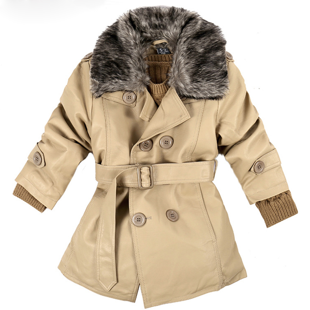 Autumn and winter children wear cotton-padded clothes leather motorcycle jacket with fur collar,Kids PU leather jacket