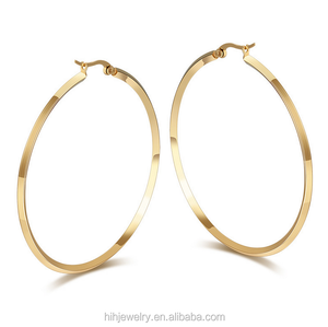 Fashion Jewelry Simple Plain Blank Bulk Big Hoop Earrings For Woman Girl