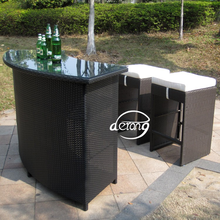 Outdoor Furniture Pe Rattan Bar Counter Table And High