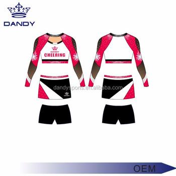 24887734e5ced Nuevo diseño personalizado Cheerleading uniformes deportivos chicas  Cheerleading ropa sublimación Cheer uniformes
