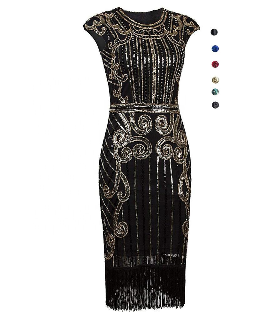 ecowalson 1920s <strong>Vintage</strong> <strong>Inspired</strong> Sequin Embellished Fringe Long Gatsby Flapper <strong>Dress</strong>