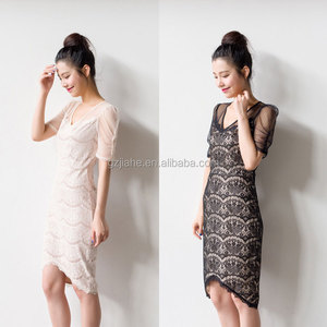 2020 new style one piece dress wholesale short sleeve lace middle aged women fashion dresses
