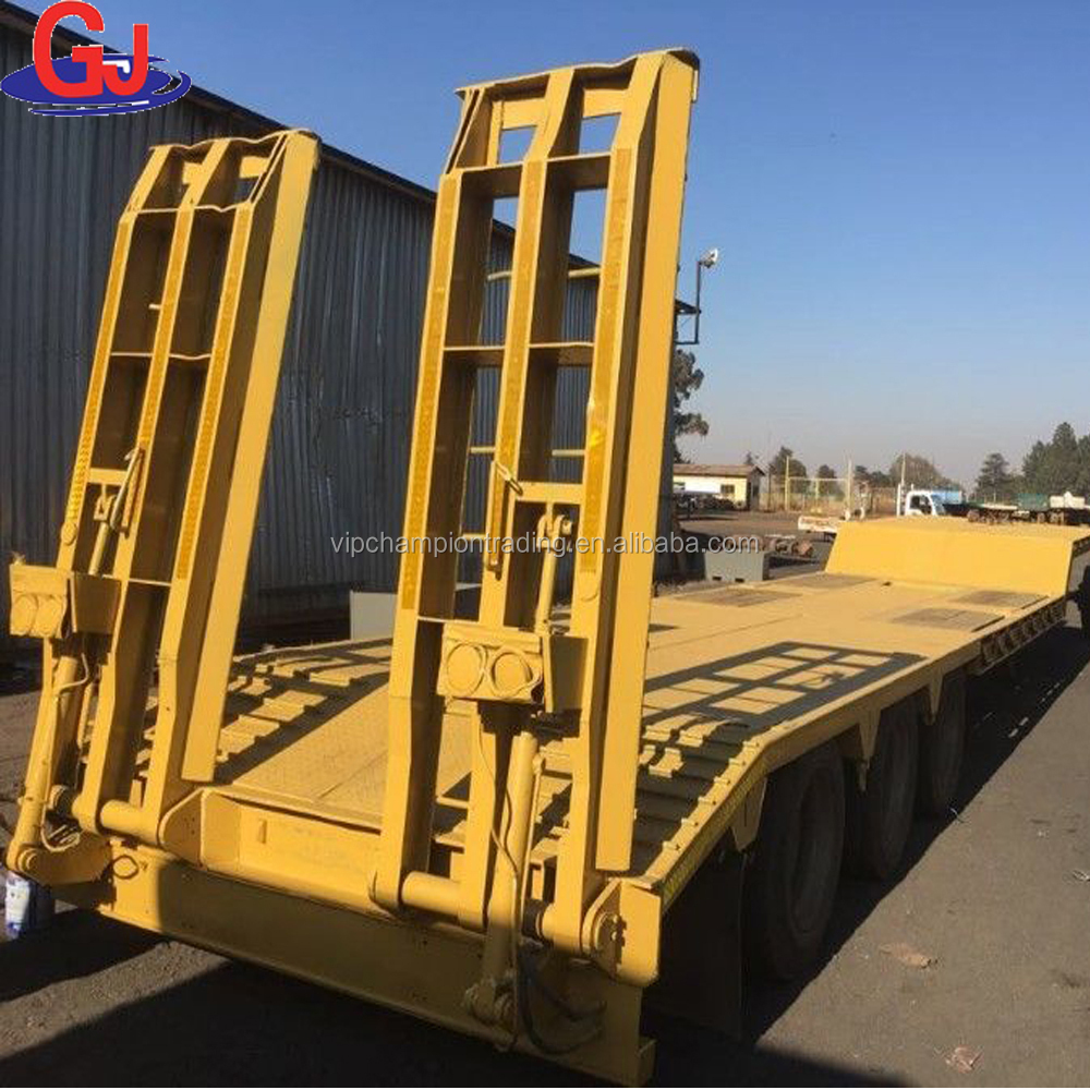 second-hand used 3 axles low bed semi trailer