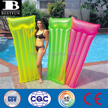 Safety Inflatable Lie Low Inflatable Beach Mattress Plastic Lilo Floating Raft Folding Water Mat Pool Float