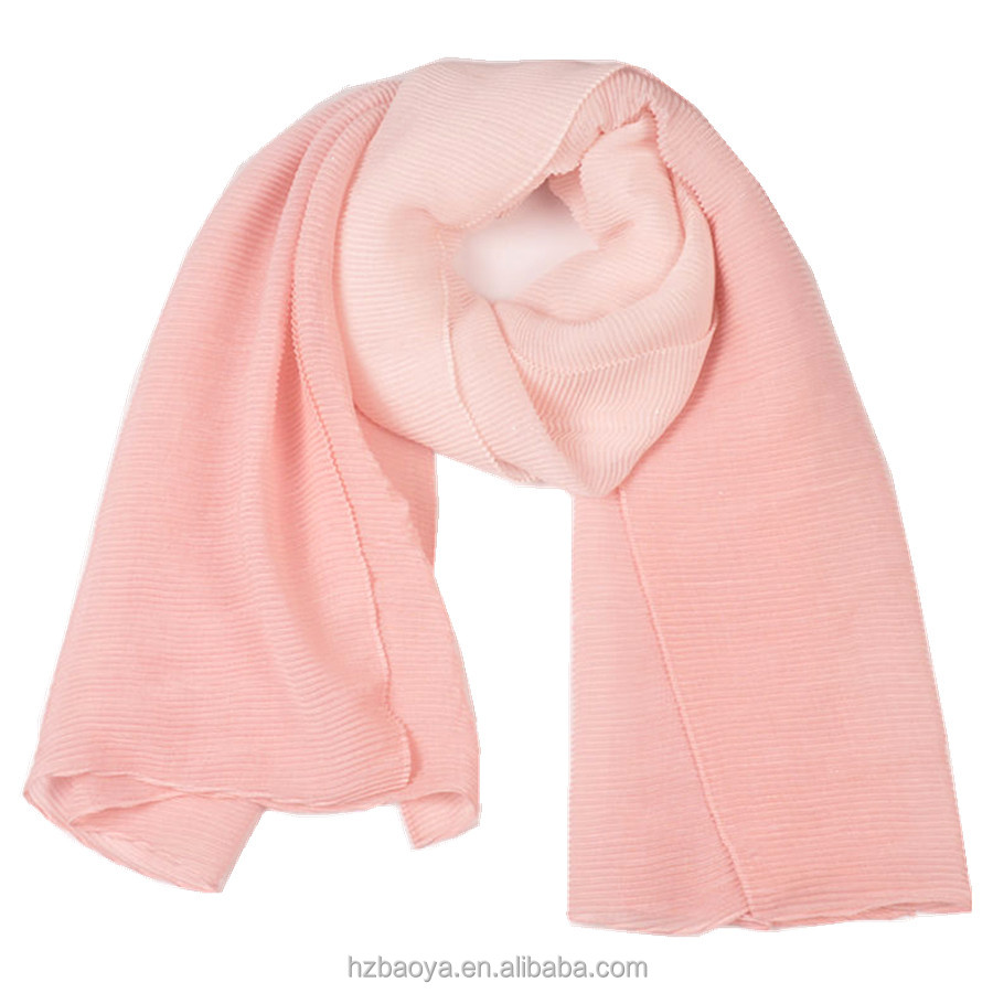 New design ombre polyester paillette crinkled scarf
