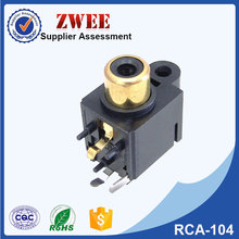 rca connector design female for pcb mount 3 pin