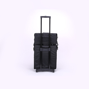 Acrylic aluminum trolley diamond makeup case studio 4-legs sparkly abs tool with cut foam