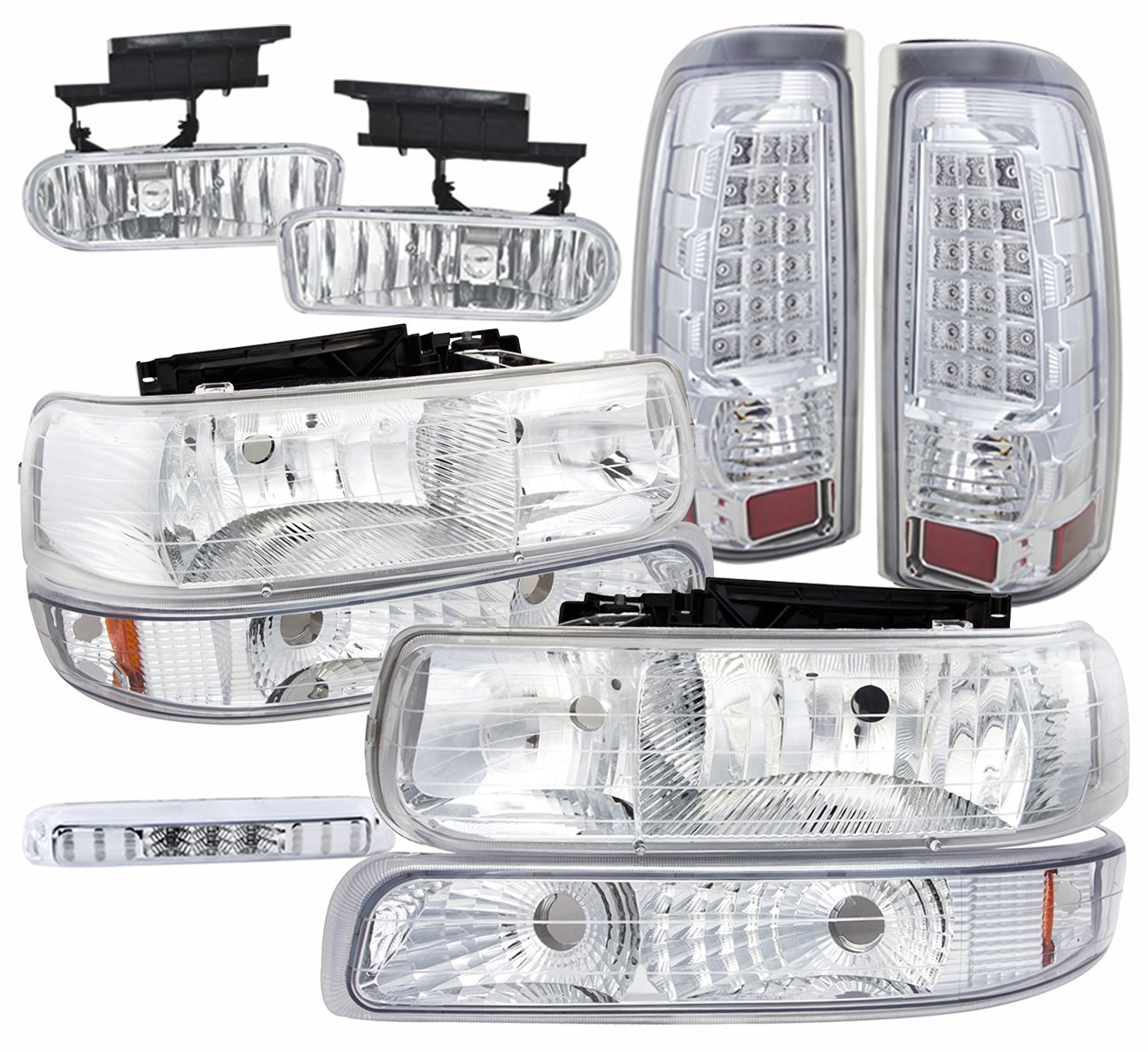 Chevy Silverado 1500 2500 3500 Chrome Headlight Amber Reflector 3Rd Third Brake Stop Tail Fog Lamp Assembly Kit Unit