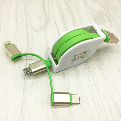 Durable metal housing 3 in 1 line usb retractable data cables for Micro/Ip/Tepy-C modern design