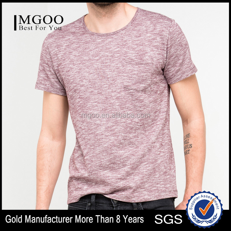 Regular Fit Short Sleeve Single Pocket Tee Customizalbe 100% Cotton Tee with Ribbed Collar Mens Front Pocket T-Shirts
