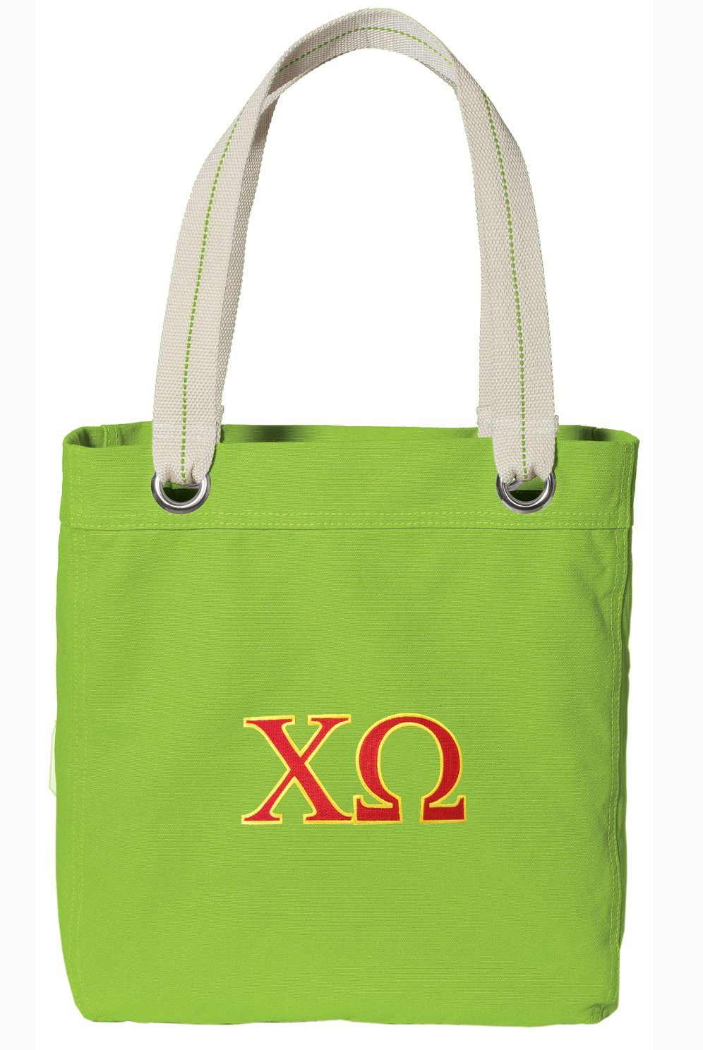 Chi Omega Tote Bag RICH Dye Washed COTTON CANVAS FASHION LIME